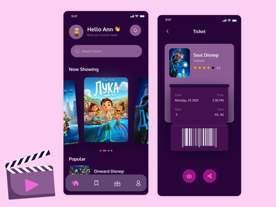 Booking Tickets App - Cinema & Movie mobile app uplabs upl mobile ui app design product design movie app tickets cinema design iosapp figma mobile app design uiuxdesign ui