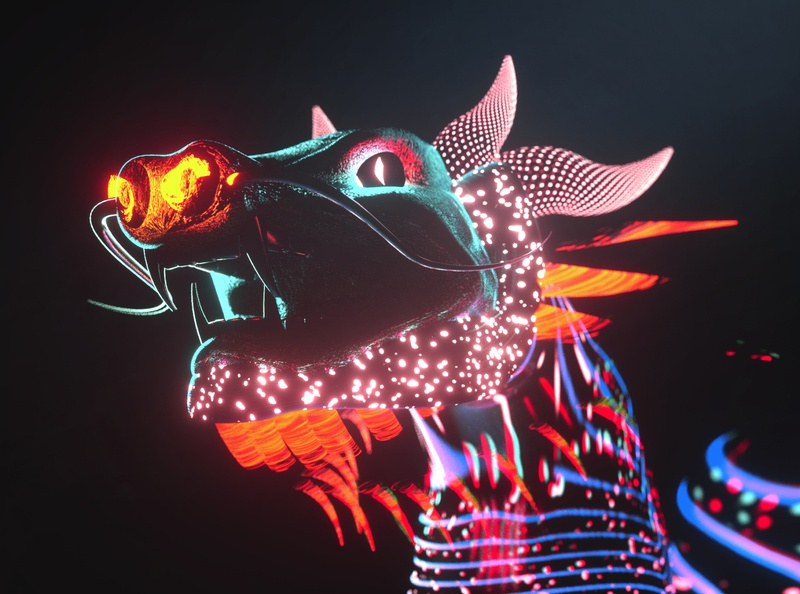 To the East character video music art fantasy fairy tale oriental east pattern neon experimental dragon digital art art graphic design c4d 3d illustration