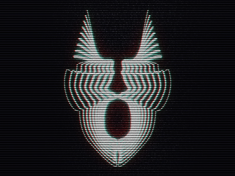 Beyond IV abstract art neon glow digital mask face experimental illustration crt monitor crt