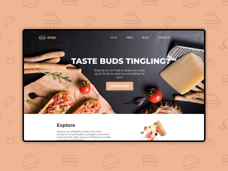 Home page for a sandwich bar food page home web app