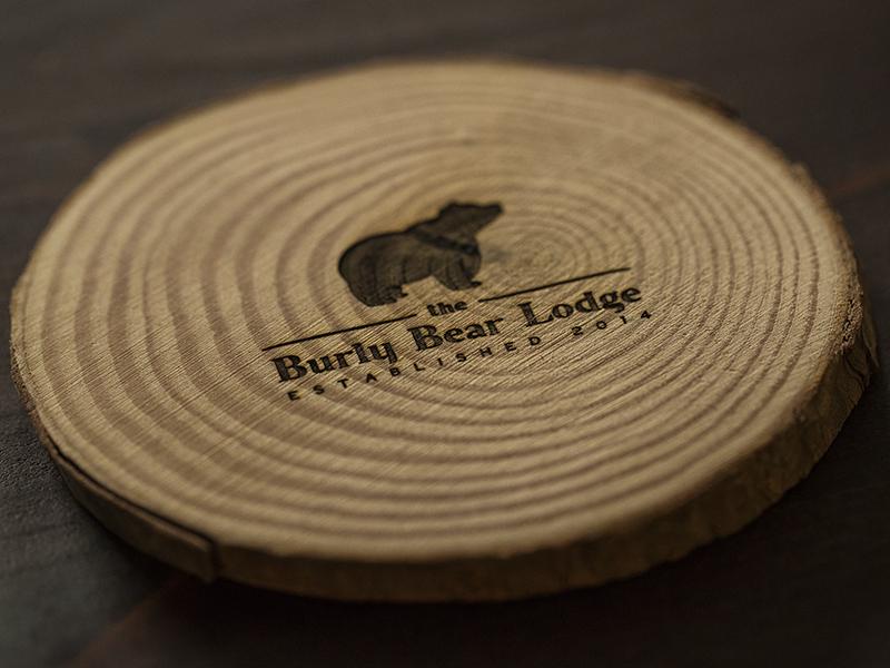 Burly Bear Coaster etch laser wood lodge bear wordmark logo