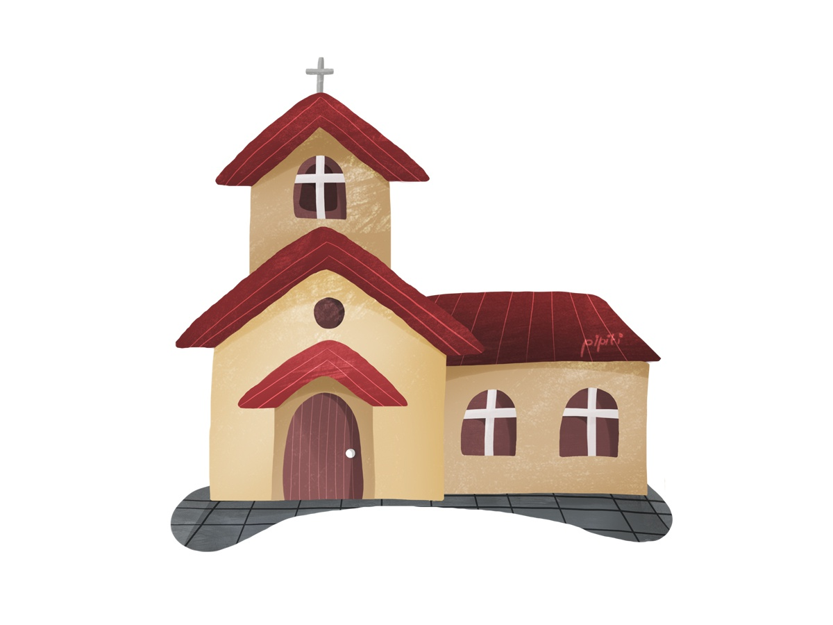 Church architechture building home house catholic christian church colorfull kidbook children books illustration cute children book illustration children book children art cartoon