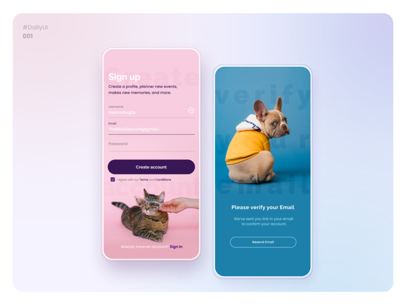 Daily UI 001 - Sign Up mockup appmobile sign up create account pet ui design design app design uidesign ui dailydesignchallenge daily dailyuichallenge dailyui
