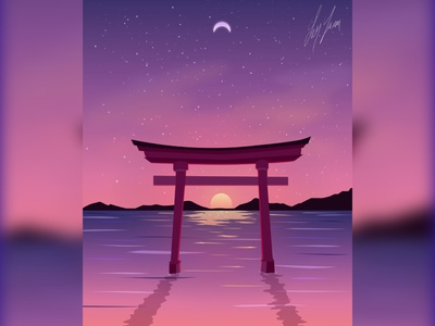 Japan Evening japanese art illustrator digitalart gradient vector landscape colors illustration