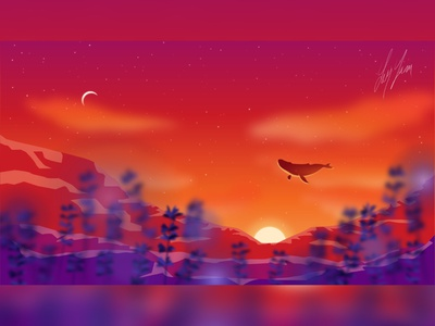 Sky Whale vector illustration vector art vector digitalart illustrator gradient landscape colors illustration
