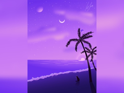 Beach sunset beach vector art vector illustration digitalart vector landscape illustrator colors illustration