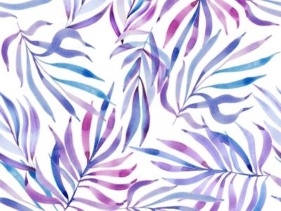 Purple palette watercolor leafy pattern