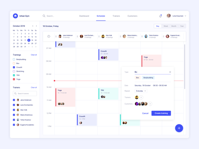 Fitness admin panel admin panel ux clean interface sport agilie calendar dashboard web ui schedule