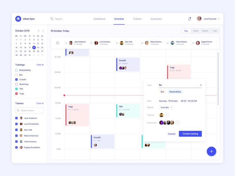 Fitness admin panel admin panel ux clean interface sport agilie calendar dashboard web ui schedule