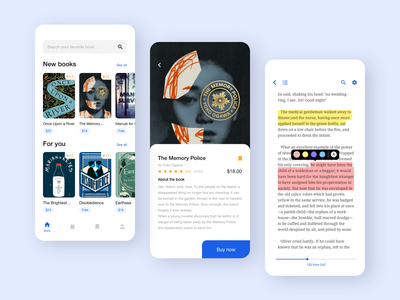 Book Store App mobile book app library mobile app simple ux ui interface design concept ukraine clean bookstore book