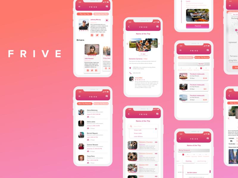 FRIVE    Mobile App Design freelance uiux travel app design trip traveling travel app ui design mobile user interface product design ui figma design