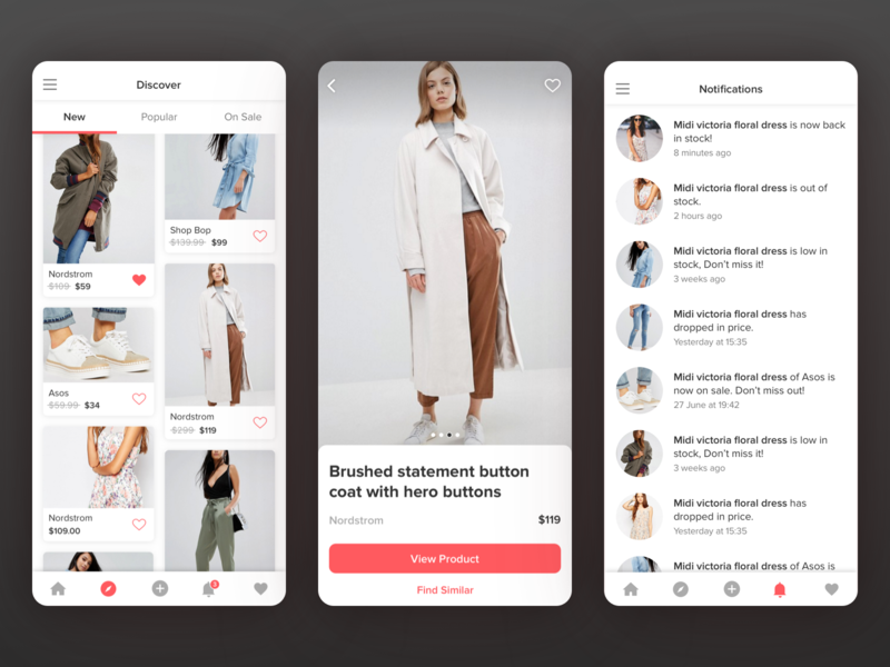Syte App button header bottom bar save discover icons tabsicons grid notifications product page ux ui uiux tabs product design mobile iphone ios app fashion fashion app