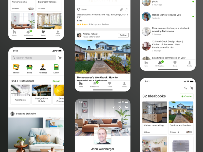 Houzz - mobile app navigation redesign notifications app design borads profile home screen feed carousel icons saved ux ui mobile interaction design product design ui ux ios app navigation bar navigation app