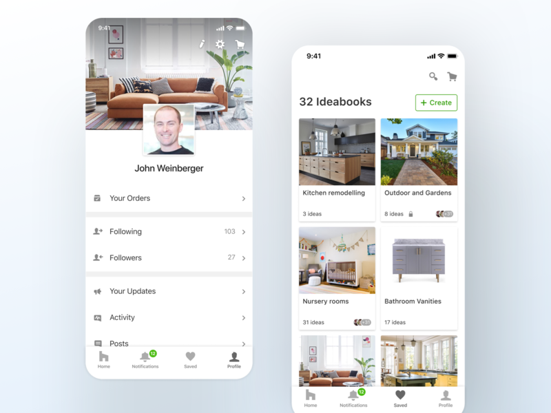 Houzz - mobile apps navigation redesign tabs ux ui settings search cart list navbar icons cover image create new cards boards profile iphone ios app product design ui ux mobile houzz