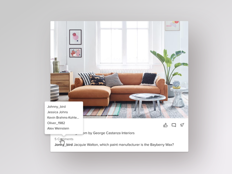 Houzz - new home feed card web home screen homepage home design hover state hover share comment like comments feed card website houzz product design ux ui ux ui