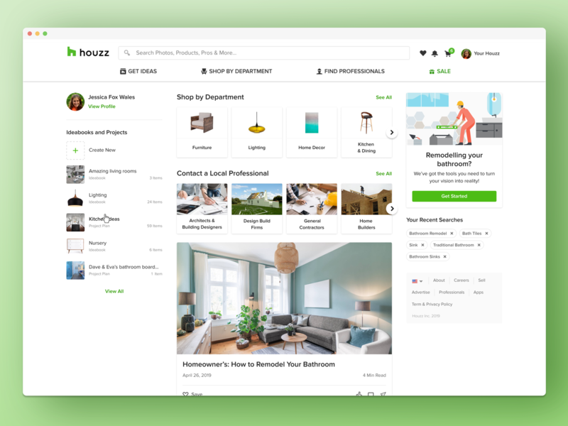 Houzz -Web Homepage home page rails home screen hover state hover profile pills banner carousel cards ui card feed website web product design ux ui ui ux homepage houzz