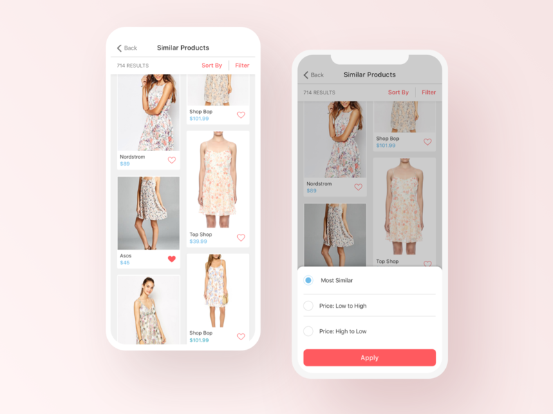 Syte iOS App save item iphone design products card design mobile design interaction design app card filter sort by iphone x ios ios app user interface similar items fashion app ux ui mobile product design