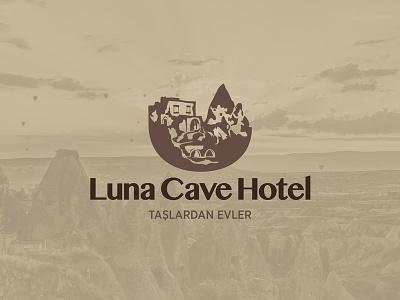 Luna Cave Hotel Taslardan Evler Kapadokya vector branding drawing istanbul illustration illustrasyon bran logo luna hotel tour tourism cappadocia