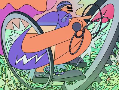 自転車 line character mtb biking bicycle illustration design