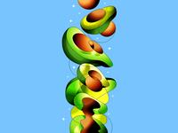 Fresh avocado ipad procreate design avocado color illustration