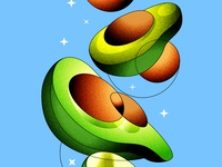 Fresh avocado avocado color procreate digital illustration design