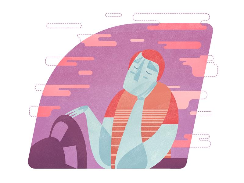 Daydreaming characterdesign illustration design