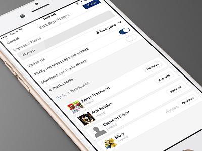 Edit app save remove white ios edit ui ux add invite cards bookmarking