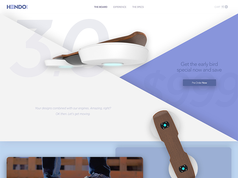 Hendo Landing Page float hover board hendo hoverboard simple clean ui daily