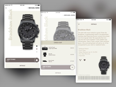 Michael Kors 1015 details bag add ecommerce ux ui iphone app michael kors watches