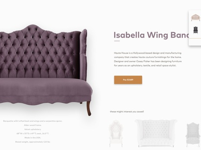 Product Detail Page recommended furniture shadows checkout drop down website detail product ux ui