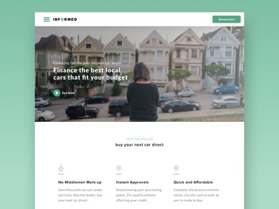 Drive Informed Home web design ui cars green home page landing page features qualify financing instant approval hero