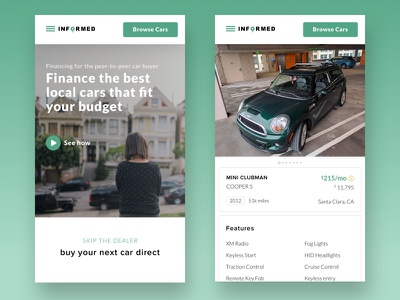 Mobile View hero approval instant financing qualify features landing page home page green cars ui web design
