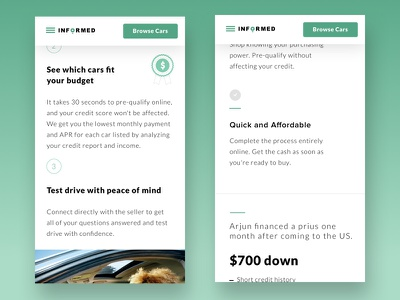 Mobile Scrollview scroll approval instant financing qualify features landing page home page green cars ui web design