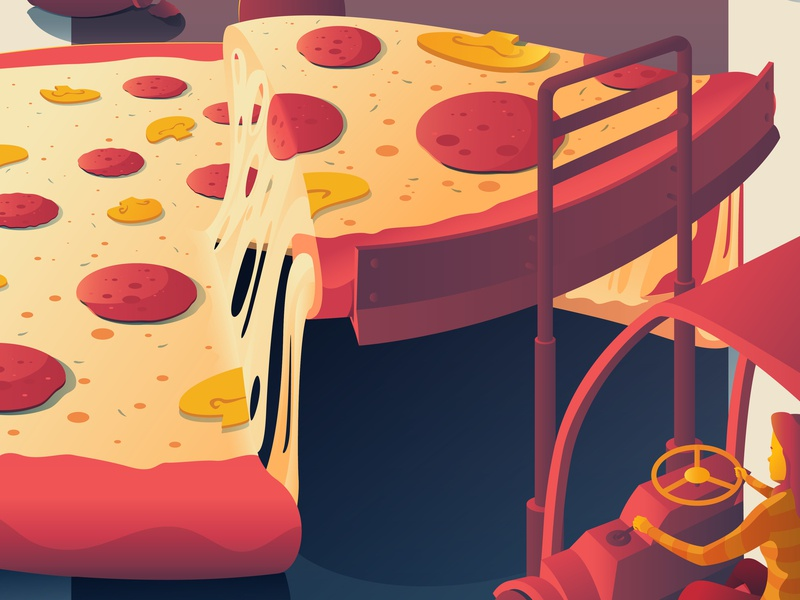 Fantastic Meals And Where To Find Them mushrooms mushroom pepperoni details food pizza illustration