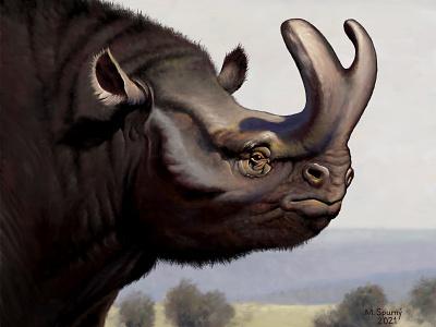 Brontotherium platyceras brontotherium digital painting paleontology animal paleoart