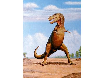 Tarbosaurus bataar paleoart reconstruction oil painting prehistoric animal extinct reptile dinosaur t-rex tyrannosaurus tarbosaurus bataar tarbosaurus