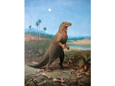 Iguanodon bernissartensis paleontology jurassic reptile iguanodon dino oil on canvas extinct dinosaur animal reconstruction prehistoric paleoart oil painting