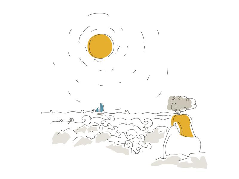 Winter - 01 - crashing waves bright color design beach vector mediteranian sea malta yellow thinking illustration chill look crash boat girl sun wave waves winter