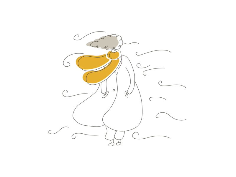Winter - 02 - very strong winds wind yellow winter girl character mediteranian sea malta girl design drawing cute sun bright color vector illustration