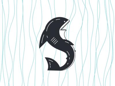 Shark 36days-s shark design cute 36daysoftype typography type vector illustration