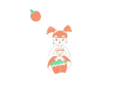 Orange hug teddy cute fruit illustration orange
