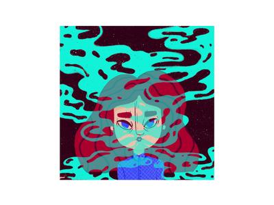 Smoke girl color illustration smoke