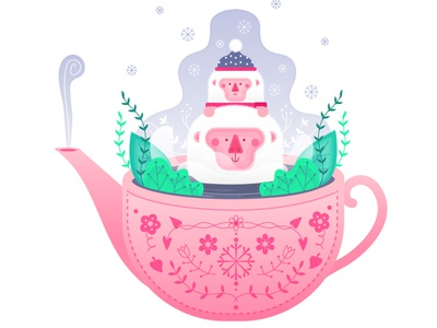 Snowmonkeys teapot snow cold monkey vector design illustration