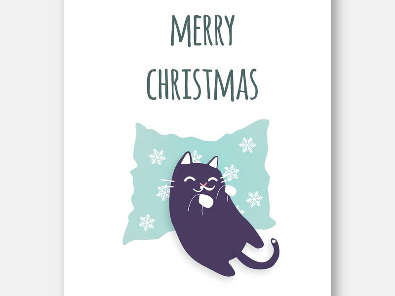 Catsmas Card 3 vector typography composition digitalartist flatdesign digitalart design fluffy cute catsmas adobeillustrator creative concept graphicdesign illustration 2dillustration christmas catart cat