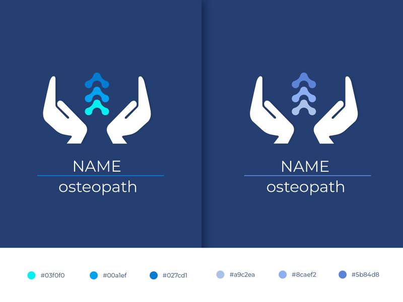 osteopath logo - 2 logos colors colorpallete medicine clinic osteopath spine hand illustration illustrator design art designer logodesign logo design