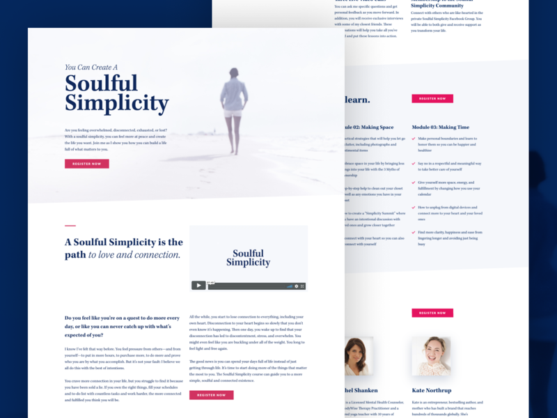 Soulful Simplicity pink blue homepage web design