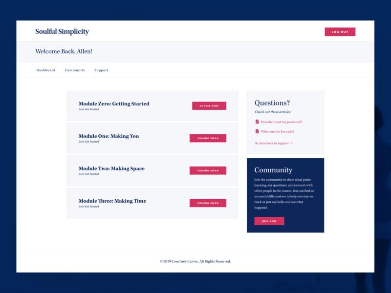 Soulful Simplicity Dashboard web design pink blue membership dashboard