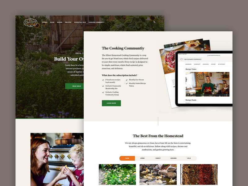 The Elliott Homestead orange green homepage webdesign