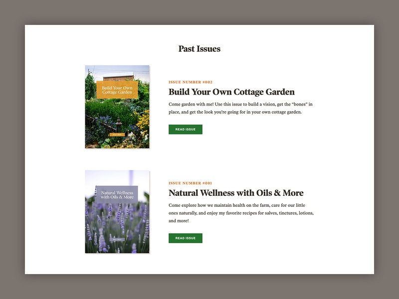 The Elliott Homestead - Issues Layout website orange green archive webdesign