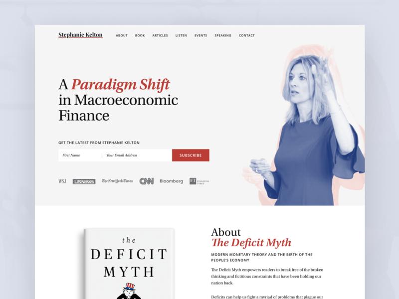 Stephanie Kelton - Homepage blue red home page webdesign website